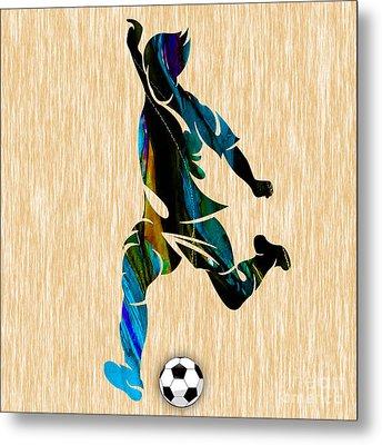 Mens Soccer Metal Print