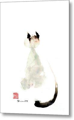 Meow Curious Cute Kitten Little Cat Watercolor Painting Funny Cats Metal Print by Mariusz Szmerdt