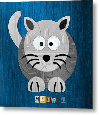 Meow The Cat License Plate Art Metal Print by Design Turnpike