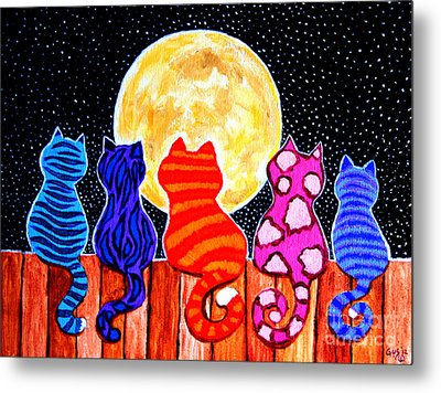 Meowing At Midnight Metal Print