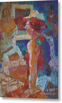 Mercado Lady Viewing Paintings Metal Print by Roger Parent