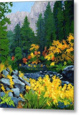 Merced River In Autumn Metal Print by Alice Leggett