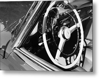 Mercedes-benz 190sl Steering Wheel Metal Print by Jill Reger