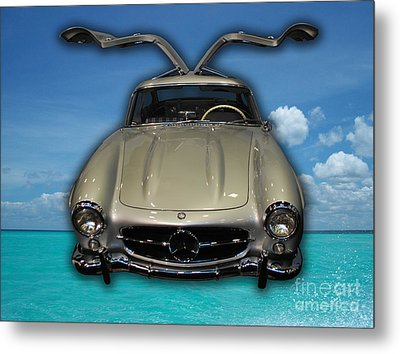 Mercedes Benz Flys Over Perfect Turquoise Blue Metal Print by Heather Kirk