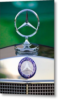 Mercedes Benz Hood Ornament 3 Metal Print by Jill Reger