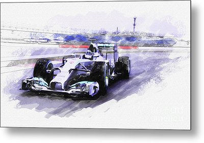 Mercedes F1 W05 Metal Print by Roger Lighterness