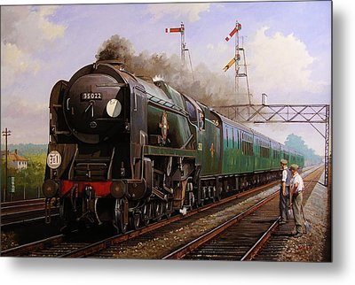 Merchant Navy Pacific At Brookwood. Metal Print by Mike  Jeffries