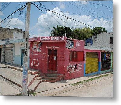 Merida Mexico Street Corner Metal Print