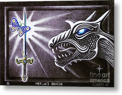 Metal Print featuring the drawing Merlin's Dragon by Hartmut Jager