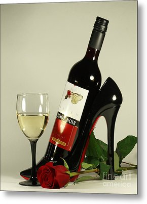 Merlot Wine And Red Rose Metal Print by Inspired Nature Photography Fine Art Photography