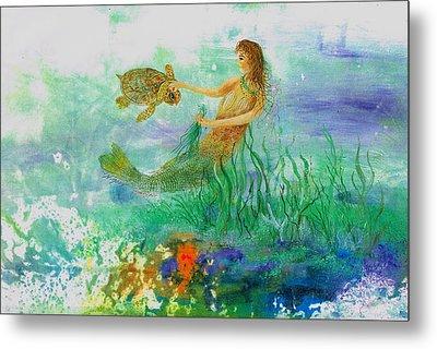 Mermaid And Baby Loggerhead Turtle Metal Print by Nancy Gorr