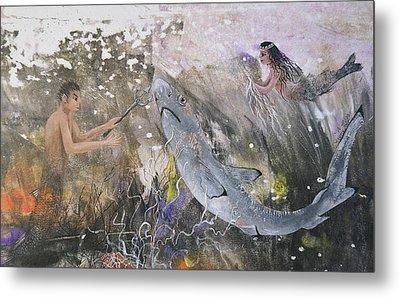 Mermaid And Neptune Metal Print by Nancy Gorr