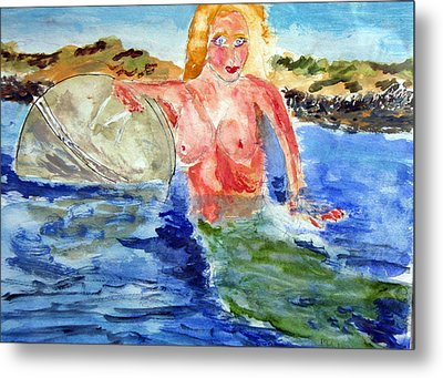 Metal Print featuring the painting Mermaid And The Buoy by Michael Helfen