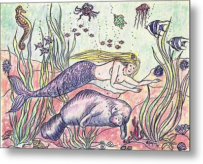 Mermaid And The Manatee Metal Print by Nancy Taylor