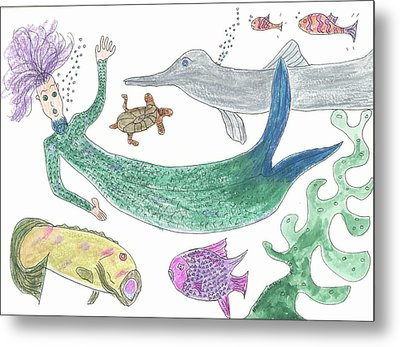 Metal Print featuring the painting Mermaid Hello by Helen Holden-Gladsky