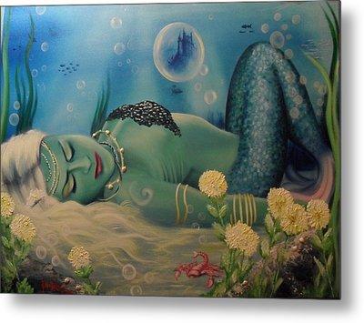 Mermaid In Seabed Metal Print by Lefteris Skaliotis