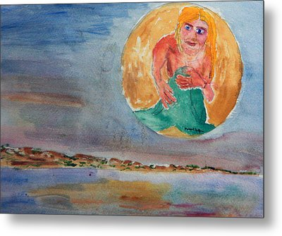 Mermaid In The Moon Metal Print