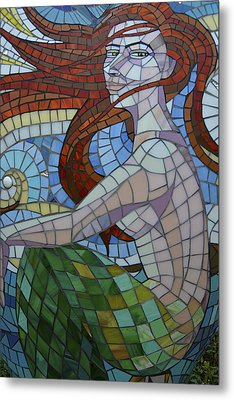 Mermaid Multi-colored Glass Mosaic  Metal Print