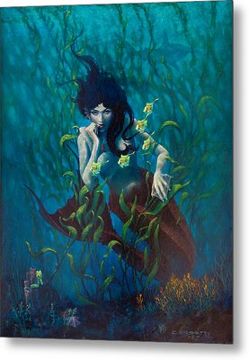 Metal Print featuring the painting Mermaid by Rob Corsetti