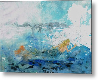 Mermaid Swimming With Dolphins Metal Print by Nancy Gorr