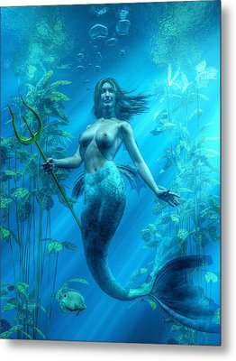 Mermaid Underwater Metal Print