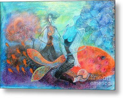 Mermaid World Metal Print by Vandana Devendra