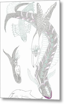Metal Print featuring the drawing Mermaids And Sea Dragons by Helen Holden-Gladsky