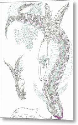 Mermaids And Sea Dragons Metal Print