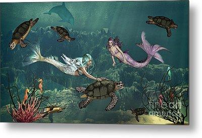 Mermaids At Turtle Springs Metal Print by Methune Hively