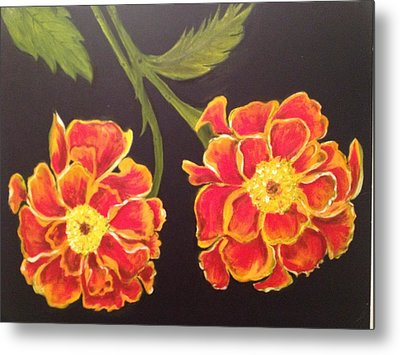Metal Print featuring the painting Merrigolds by Brindha Naveen