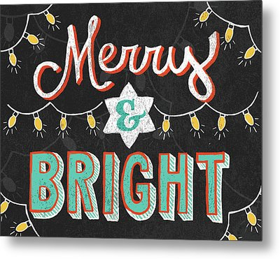 Merry And Bright Black Metal Print by Mary Urban
