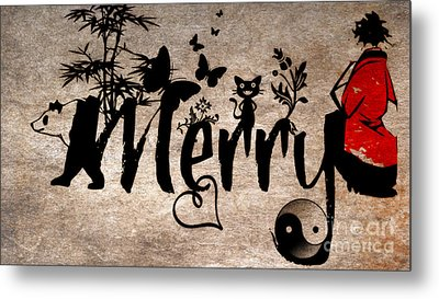 Merry Asian Theme Metal Print