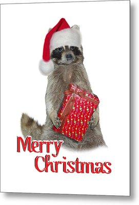Merry Christmas -  Raccoon Metal Print