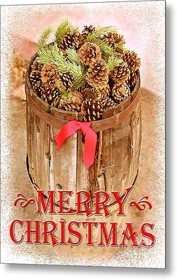Metal Print featuring the photograph Merry Christmas Barrel by Cristophers Dream Artistry