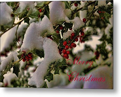 Merry Christmas Card Holly Metal Print