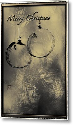 Metal Print featuring the mixed media Merry Christmas Card by Peter v Quenter
