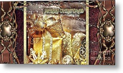 Merry Christmas Gold Metal Print