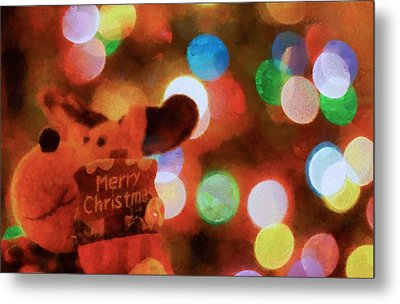 Merry Christmas Sign And Lights Metal Print by Dan Sproul