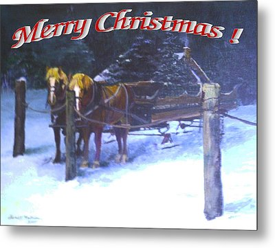 Merry Christmas Sleigh Metal Print