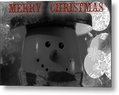 Merry Christmas Snowman Metal Print by Dan Sproul