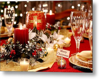 Merry Christmas Table Metal Print