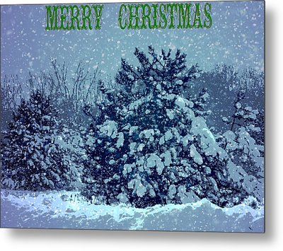 Merry Christmas Winter Scene Metal Print by Dan Sproul