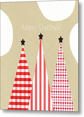 Merry Christmas With Red And White Trees Metal Print by Linda Woods