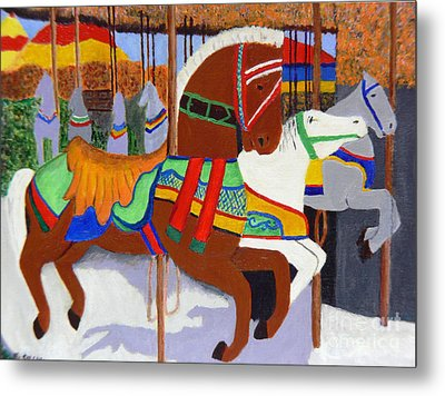 Merry-go-round Metal Print by Mary M Collins