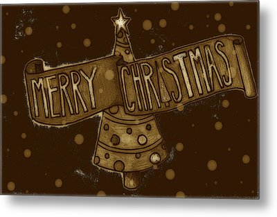 Merry Sepia Christmas Metal Print by Jame Hayes