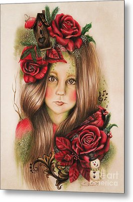 Metal Print featuring the drawing Merry by Sheena Pike