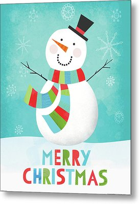 Merry Snowman IIi Metal Print
