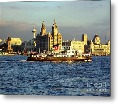 Mersey Ferry And Liverpool Waterfront Metal Print