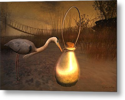 Metal Print featuring the digital art Message In A Bottle by Kylie Sabra
