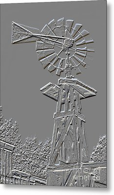 Metal Print Windmill Antique In Gray Color 3005.03 Metal Print by M K  Miller
